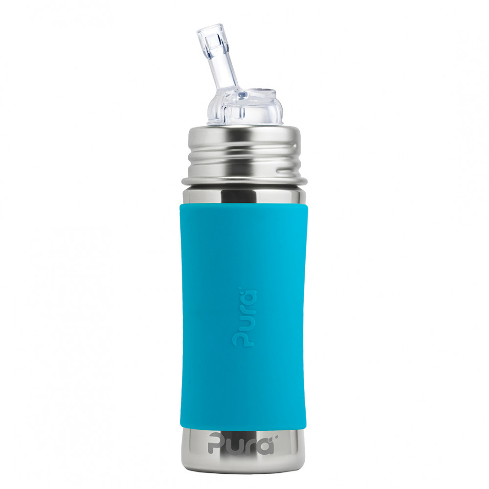Pura nerezová fľaša so slamkou 325ml / Aqua