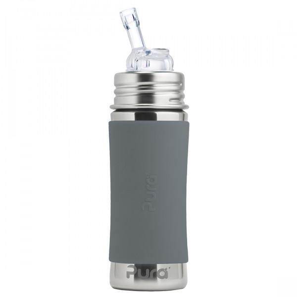 Pura nerezová fľaša so slamkou 325ml / Sivá