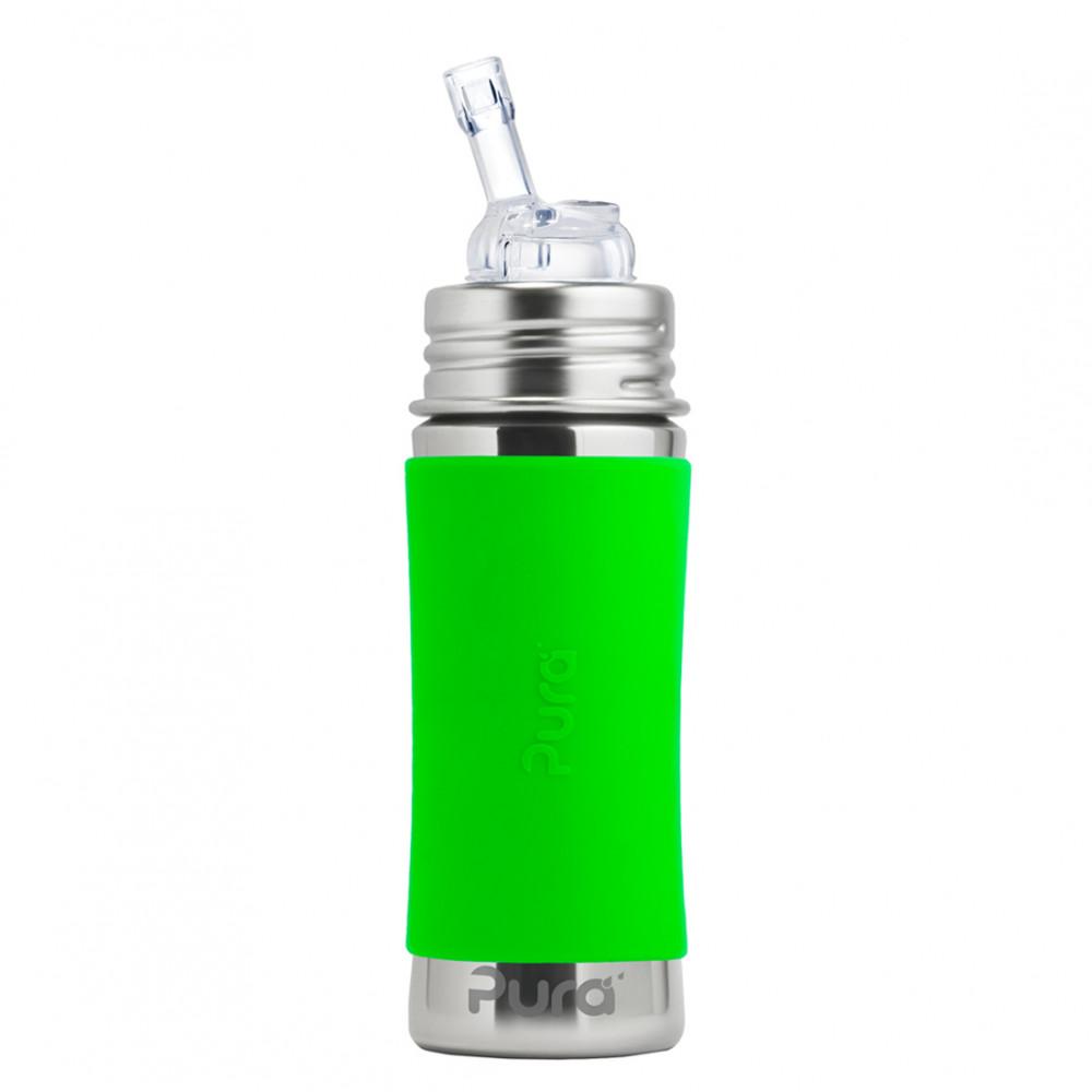 Pura nerezová fľaša so slamkou 325ml / Zelená