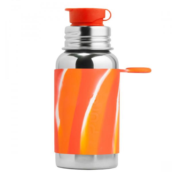 Pura nerezová fľaša so športovým uzáverom 550ml / Oranžovo-biela