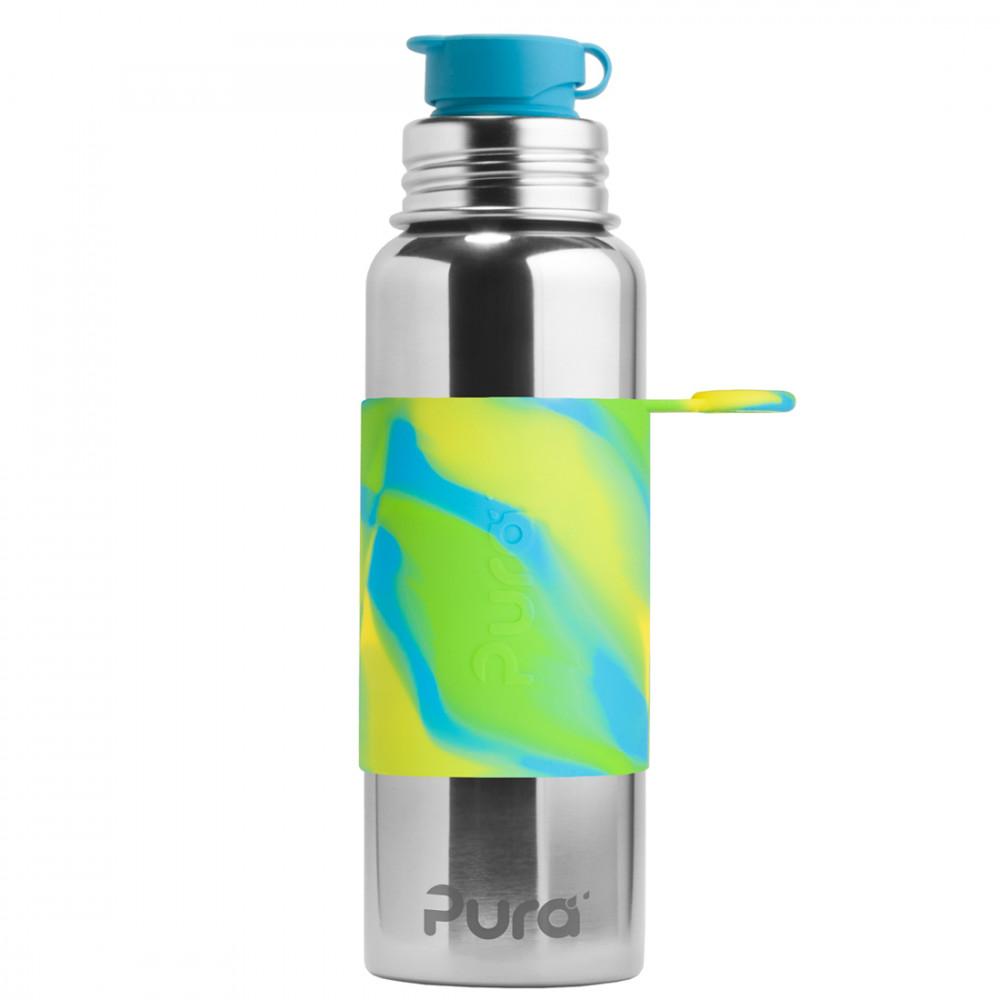 Pura nerezová fľaša so športovým uzáverom 850ml / Zelená-aqua