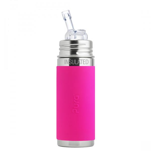 Pura TERMO fľaša so slamkou 260ml / Ružová
