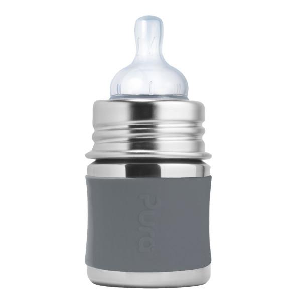 Pura nerezová dojčenská fľaša 150ml / Sivá