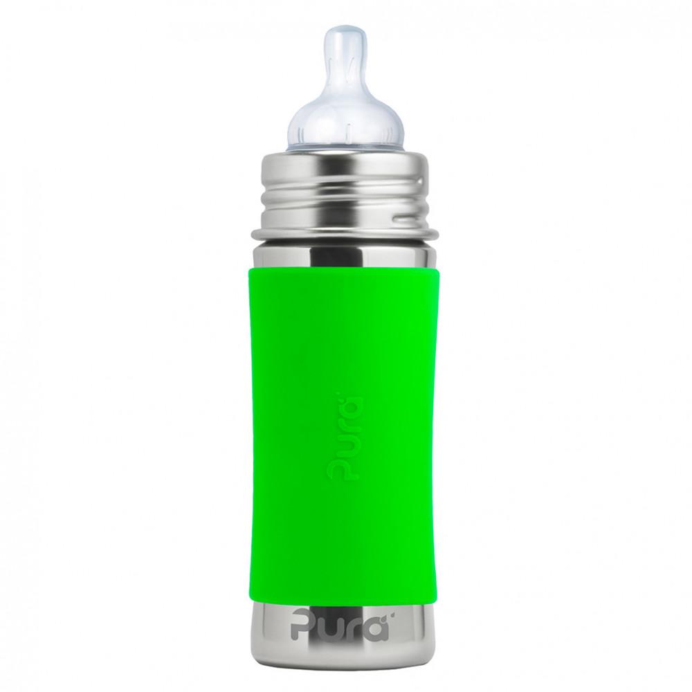 Pura nerezová dojčenská fľaša 325ml / Zelená