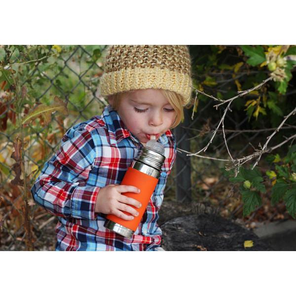 Pura nerezová fľaša so slamkou 325ml / Ružovo-biela