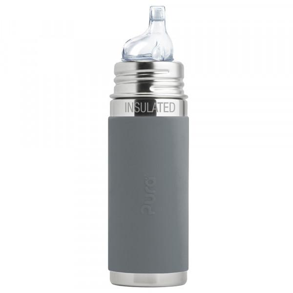 Pura TERMO fľaša s náustkom 260ml / Sivá